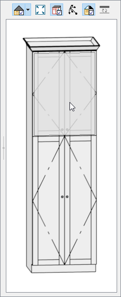 Selecting the top set of doors in the 3D preview