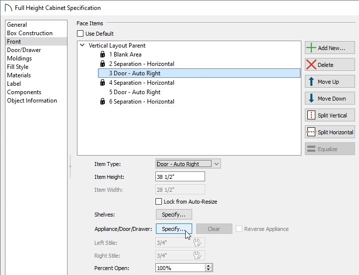 Selecting the Specify button next to Appliance/Door/Drawer
