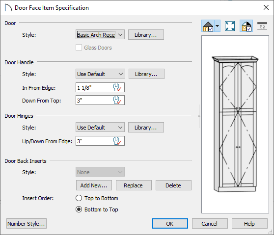 Door Face Item Specification where door changes can be made