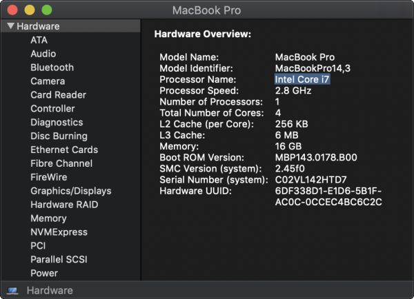 Macbook Pro Hardware Information