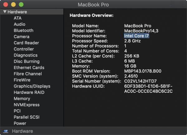 Macbook Pro Hardware Information