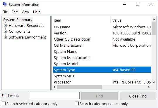 Microsoft System Information