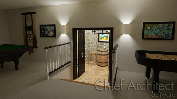 wine cellar with a lowered floor in the basement