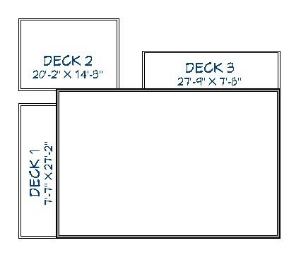 Floor plan view showing three deck areas drawn on side and back of house with a gap between the decks