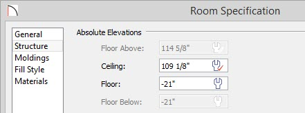 Room Specification dialog with -21 inches entered for Floor value