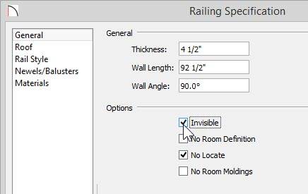Railing Specification dialog showing Invisible selected under Options