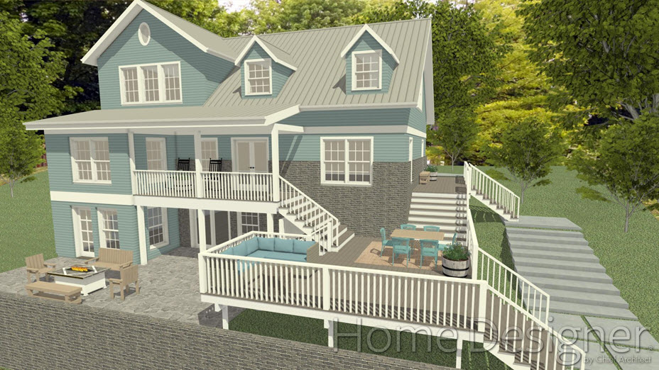 Camera view of back of house with three deck areas connected by stairs where middle deck is lowered