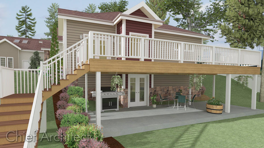 BBQ, patio, and a deck with stairs going down to the backyard.