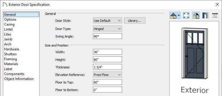 Set the doors properties in the specification dialog
