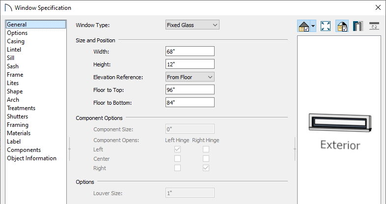 Adjust the windows properties on the General panel