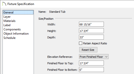 General panel of the Fixture Specification dialog