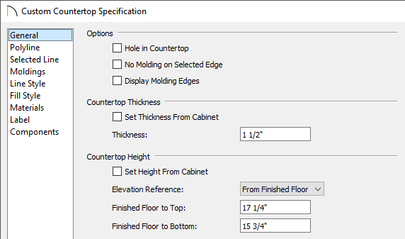 Set the thickness, height, and position of the countertop