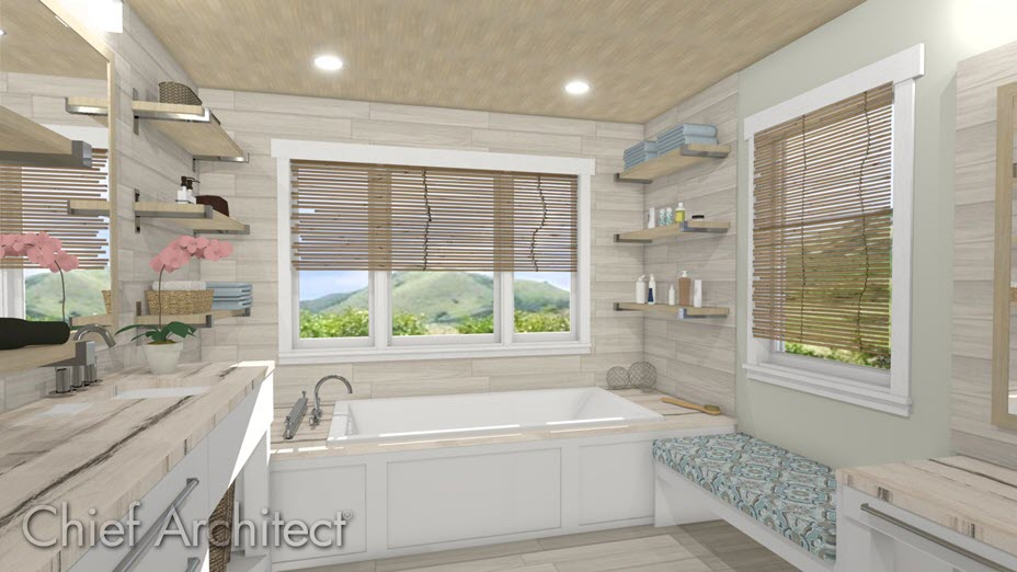 Drop-in tub located in bathroom