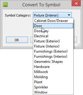 In the Convert to Symbol dialog choose Door from the Symbol Category drop-down.  sc 1 st  Chief Architect & Creating a Custom Door Symbol