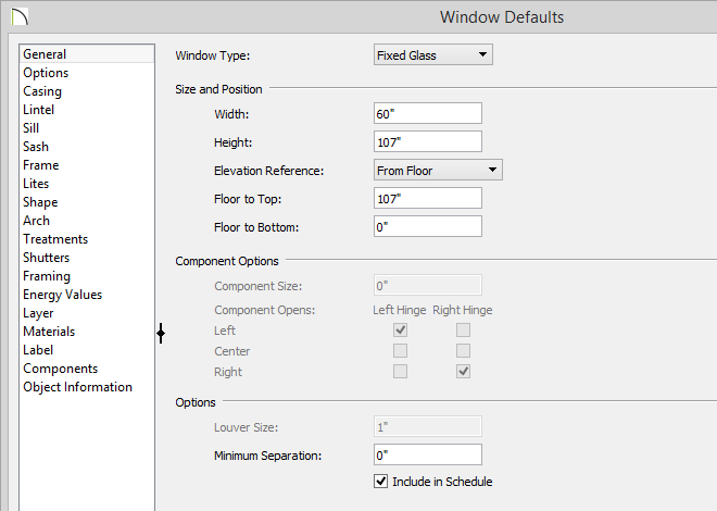 Window Defaults dialog with Minimum Separation value set to zero