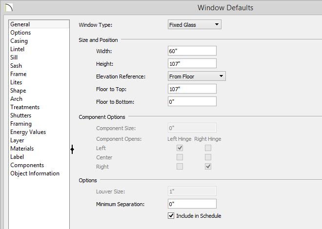Window Defaults dialog with Minimum Separation value set to zero