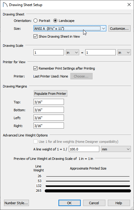 Drawing Sheet Setup dialog where the Drawing Sheet Size can be changed