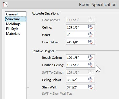 Room Specification showing defaults for floor and ceiling heights