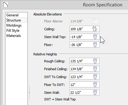 Room Specification dialog - Structure panel - new values for Stem Wall Top, Floor, Stem Wall and Floor to SWT