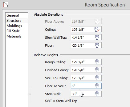 """Room Specification dialog with -20 1/8"""" Floor value, 6"""" Floor to SWT value and 36"""" Stem Wall value"""