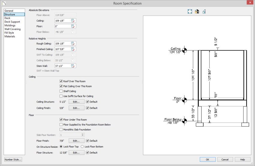 Room Specification dialog on Structure panle with Floor height of zero and Finished Ceiling height set to 107 5/8
