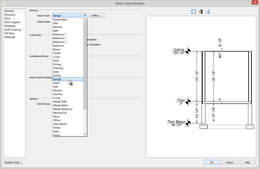 Room Specification dialog on General panel with Garage selected as teh Room Type