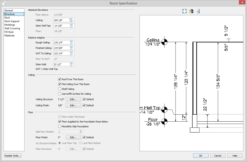 Room Specification dialog with Structure panel selected showing -14 1/8 Stem Wall Top and Finished Ceiling of 134 5/8