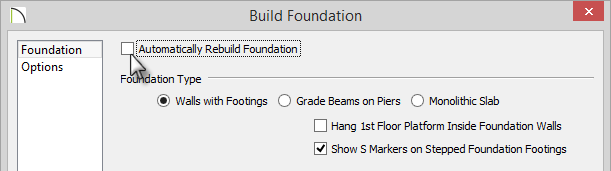 Build Foundation dialog with the box for Automatically Rebuild Foundation oiption cleared