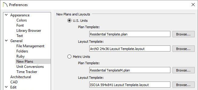Changing templates in preferences