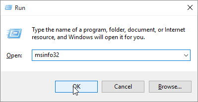 msinfo32 typed in the Open field of the Run dialog
