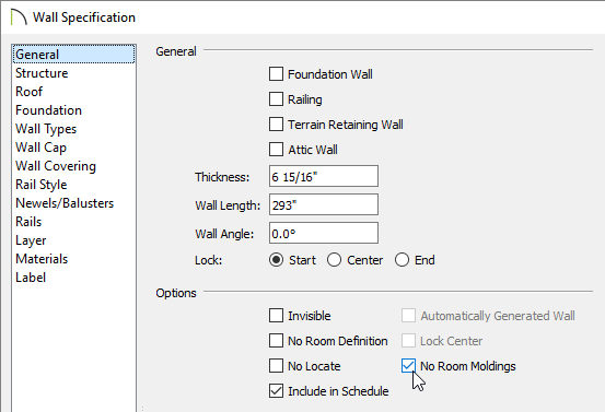 Selecting the No Room Moldings box located on the General panel of the Wall Specification dialog