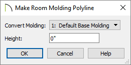 Convert a room molding to a molding polyline using the Make Room Molding Polyline dialog