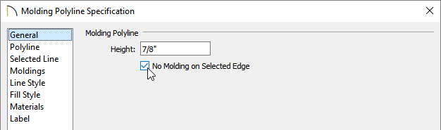 Check the No Moldingon Selected Edge within the Molding Polyline Specification dialog