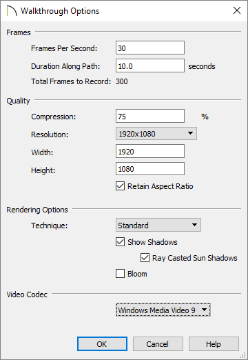 Walkthrough recording options