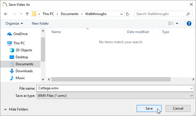Specify a location and file name for the walkthrough