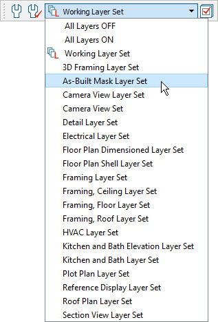 Selecting the active layer set from the toolbar