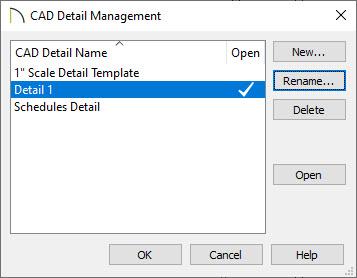 CAD Detail Management dialog