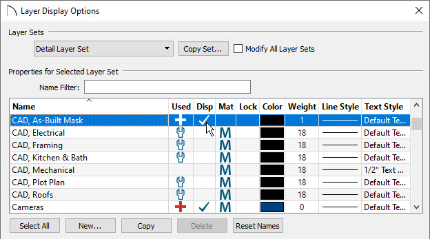 Layer Display Options dialog where the CAD, As-Built Mask layer is checked to display