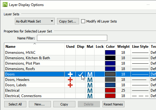 Layer Display Options dialog