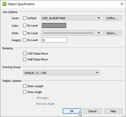 Object Specification dialog