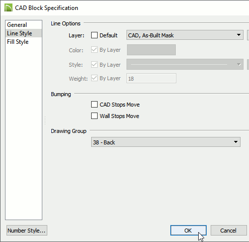 CAD Block Specification dialog