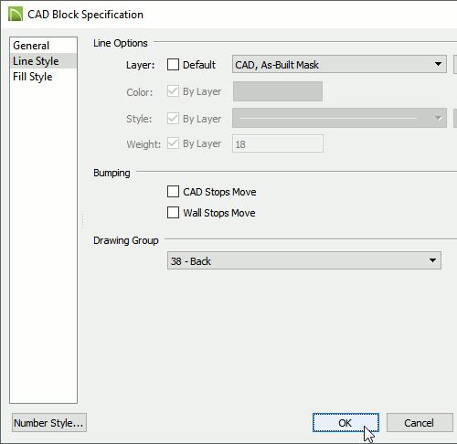 CAD Block Specification dialog