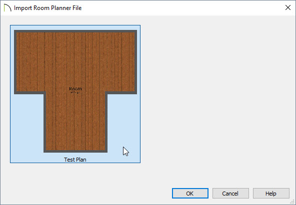 Clicking on Test Plan in the Import Room Planner File dialog