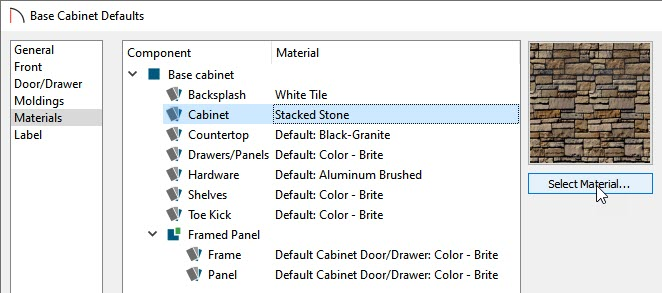 Changing the default base cabinet materials