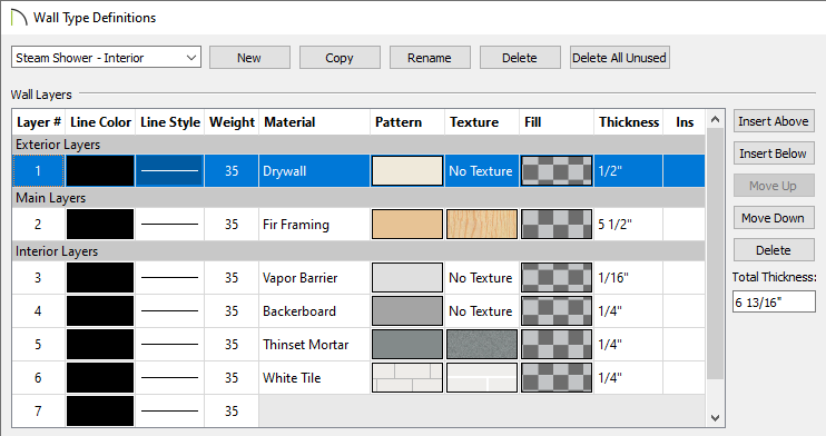 Wall Type Definitions dialog where new wall types can be defined