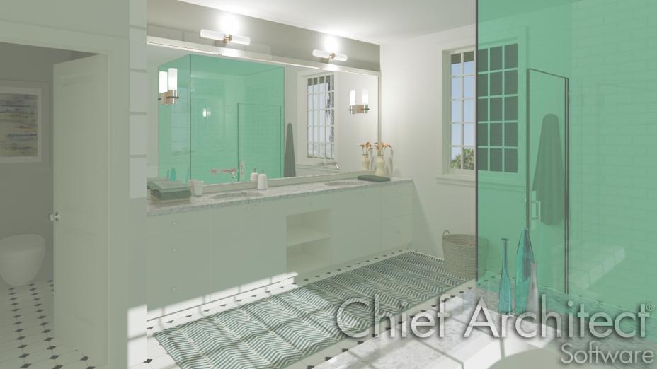 Interior bathroom with glass walled steam shower