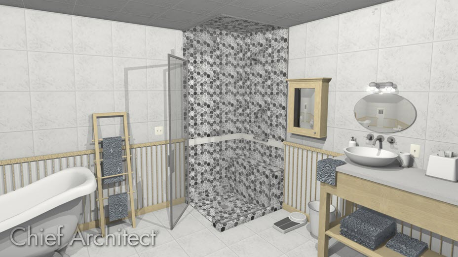 Bathroom with a steam shower