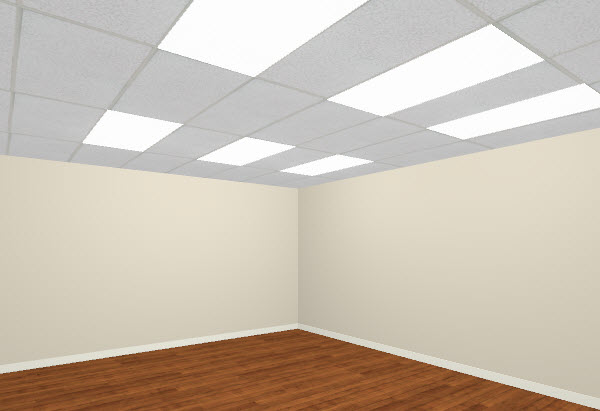 Full Camera View of room with suspended ceiling and florescent lights