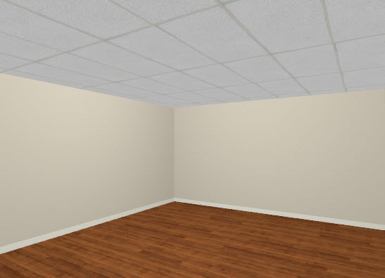 Full Camera view of room with rectangular ceiling panels