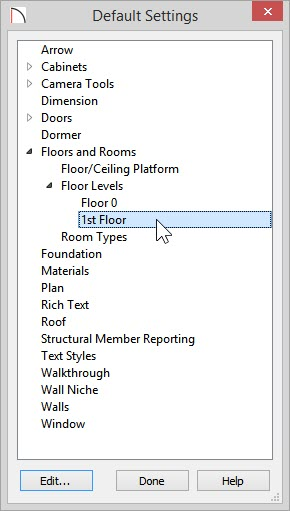 Default Settings dialog - Floors and Rooms> Floor Levels> 1st Floor